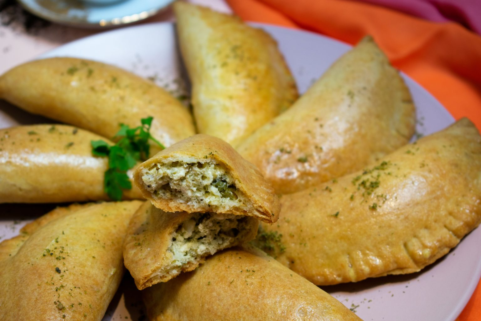 Close-up of Middle Eastern Cheese Pastries and Parsley