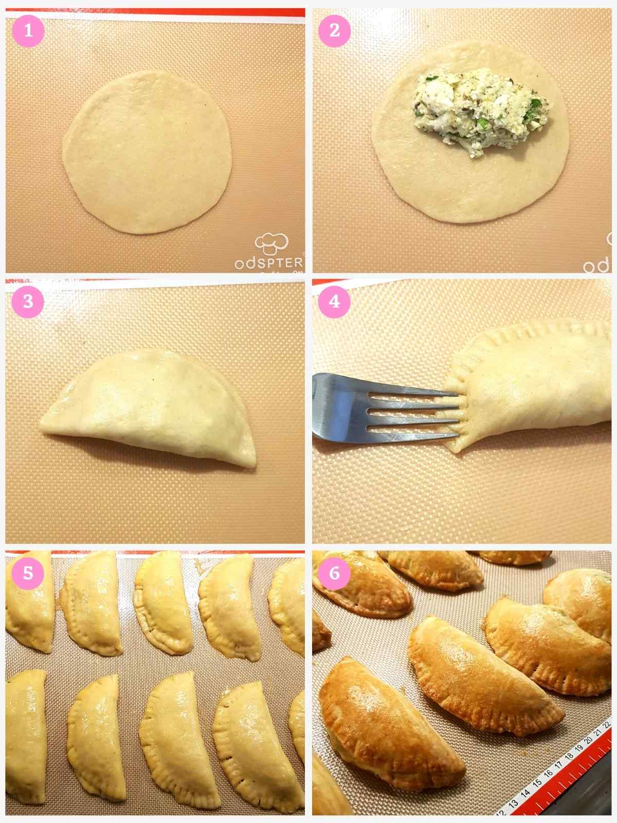 Collage of 4 images showing steps to making Middle Eastern Cheese Pastries