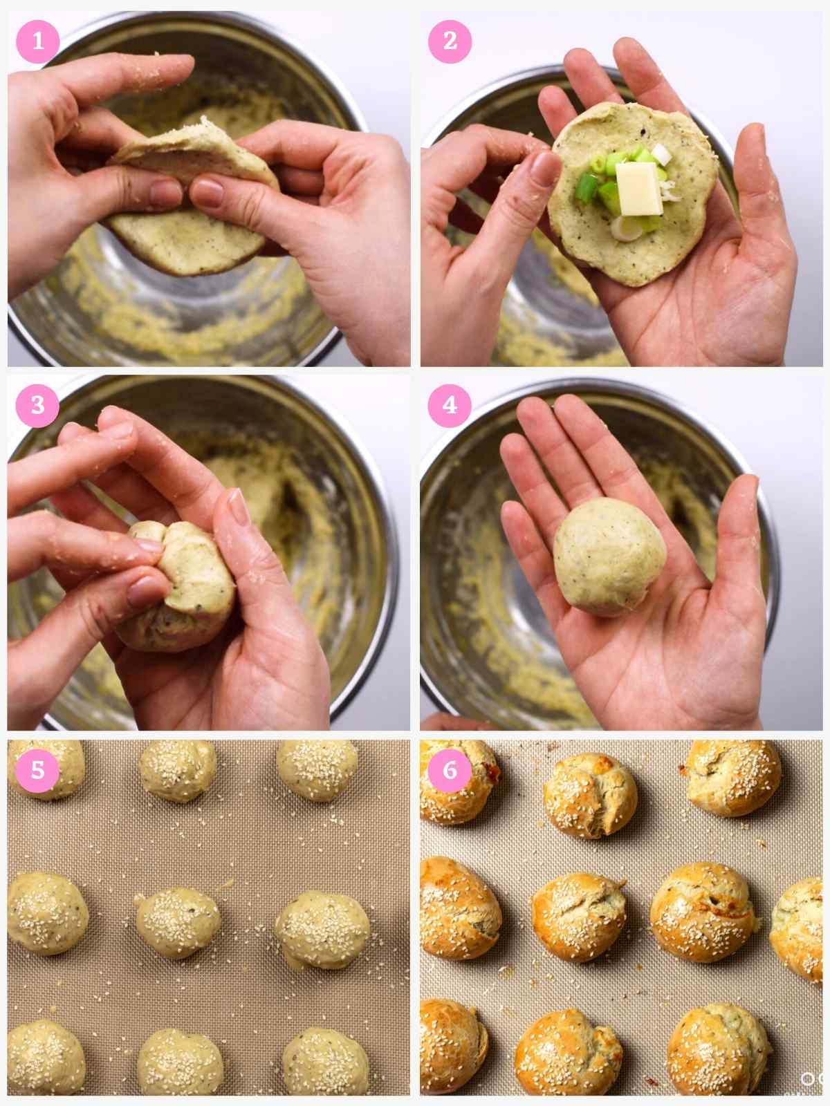 Collage of 6 images showing how to form the cheese buns