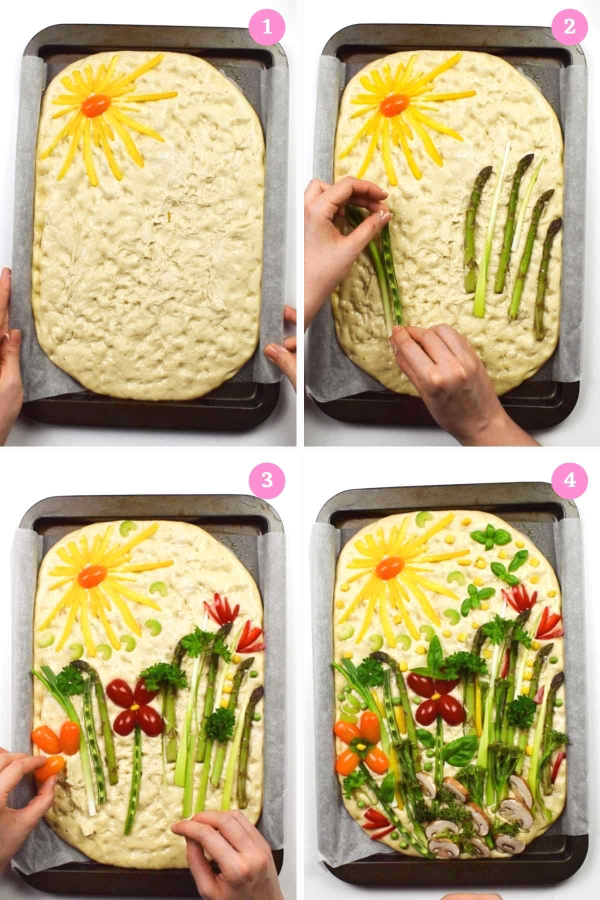 Collage of 4 images showing how to decorate focaccia art