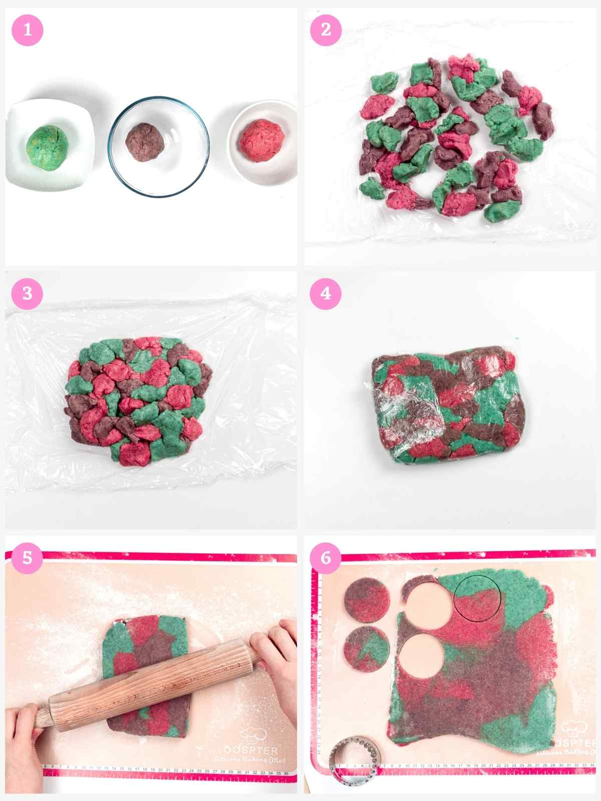 Collage of 6 images showing how to make marble cookies