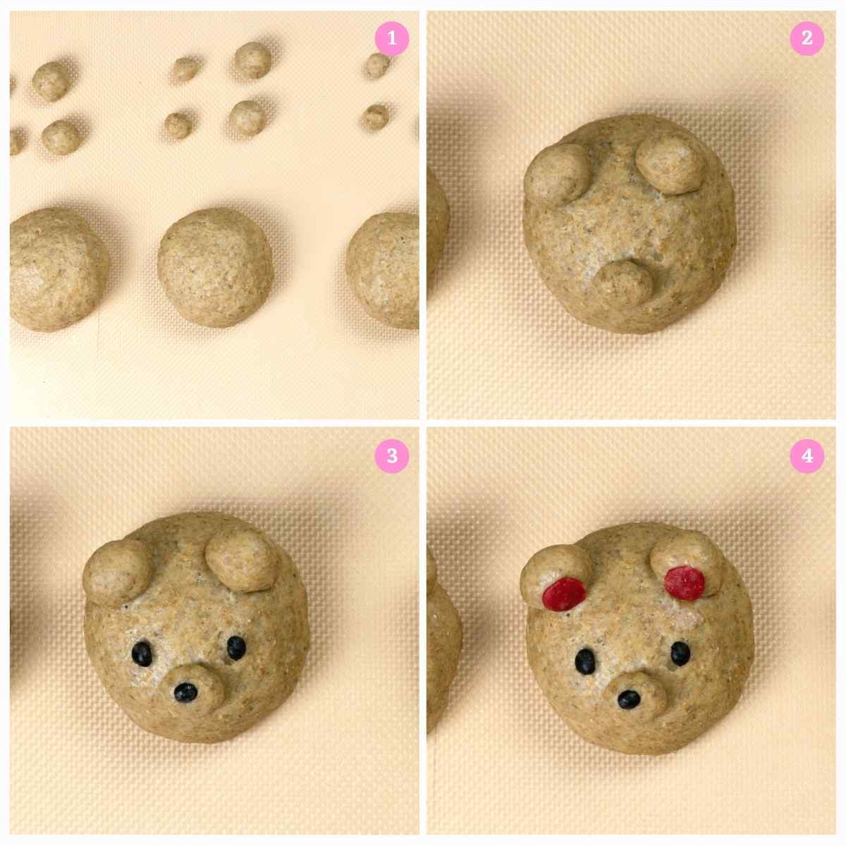 Collage of 4 images showing how to make Teddy Bear Buns shape