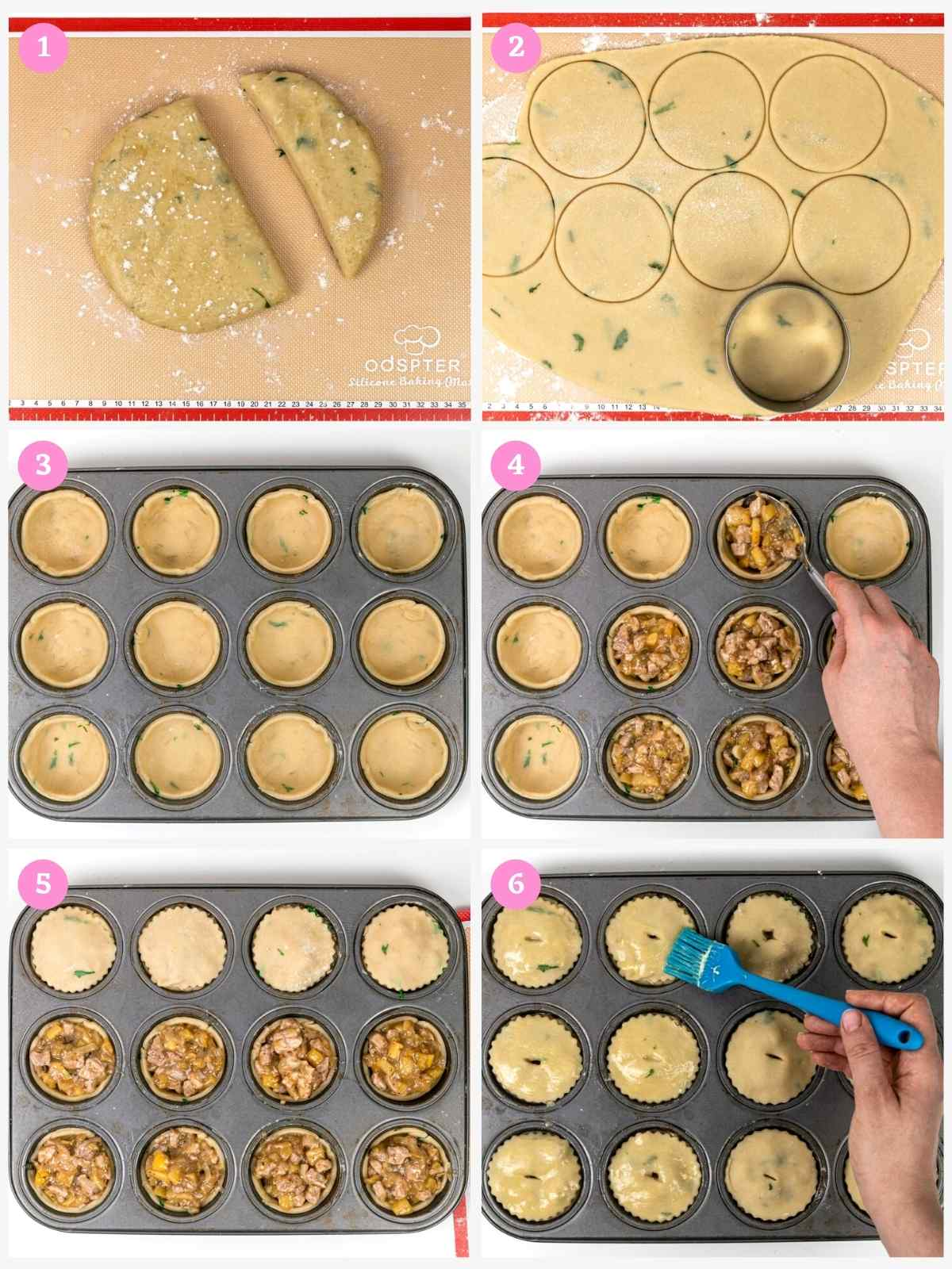 Collage of 6 images showing how to assemble British pork pies