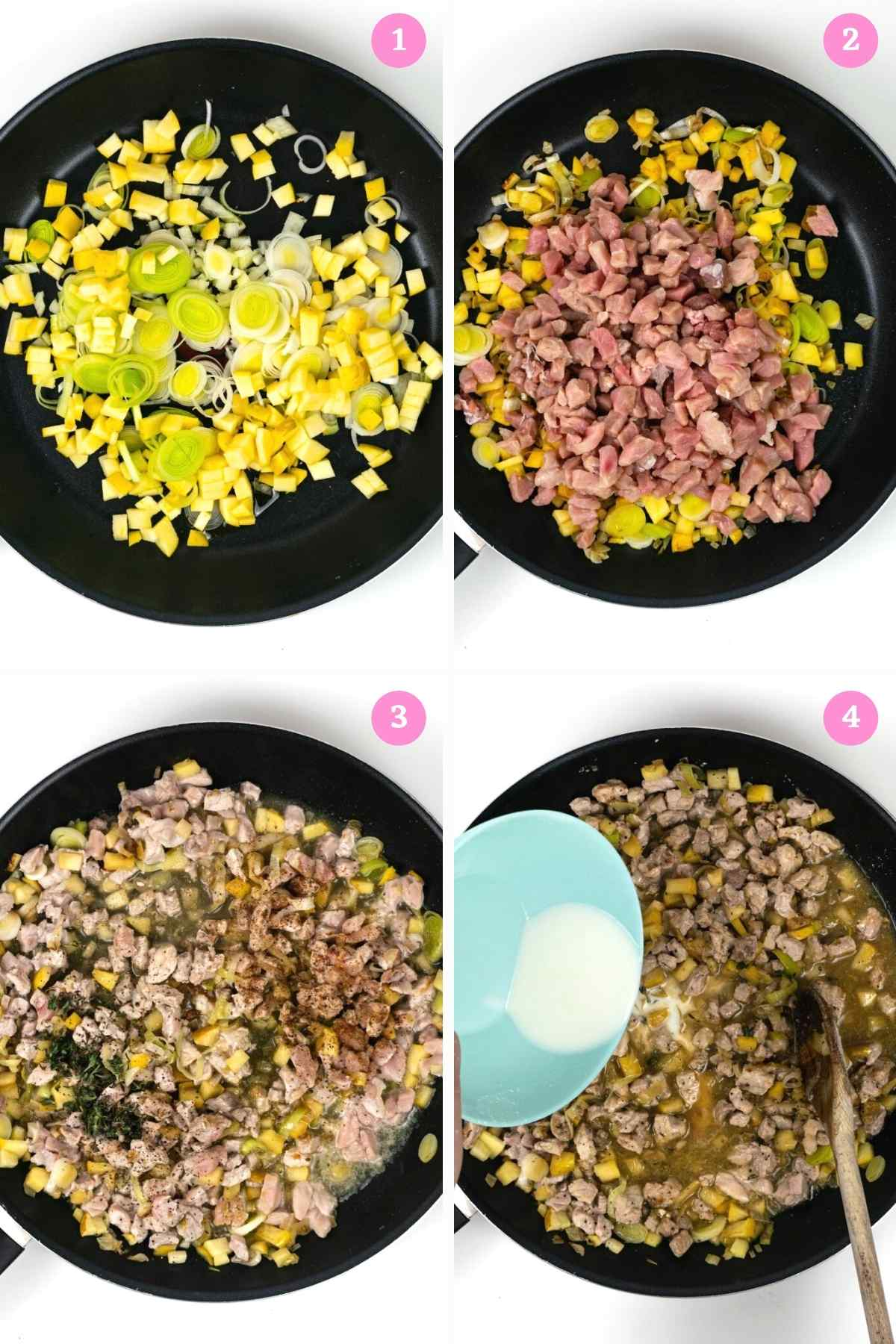 Collage of 4 images showing how to make the British Pork Pie filling