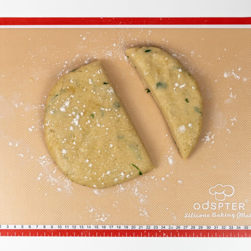 Step 9 - Divide pastry into 2 pieces, one 2/3 the other 1/3