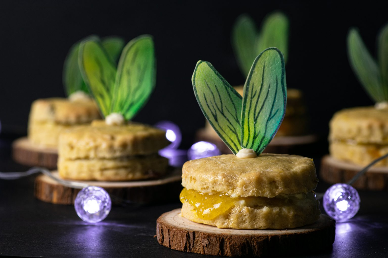 Firefly scones with mango and basil jam
