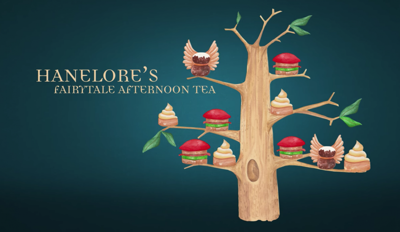 Illustration of tree with sandwiches and desserts on branches