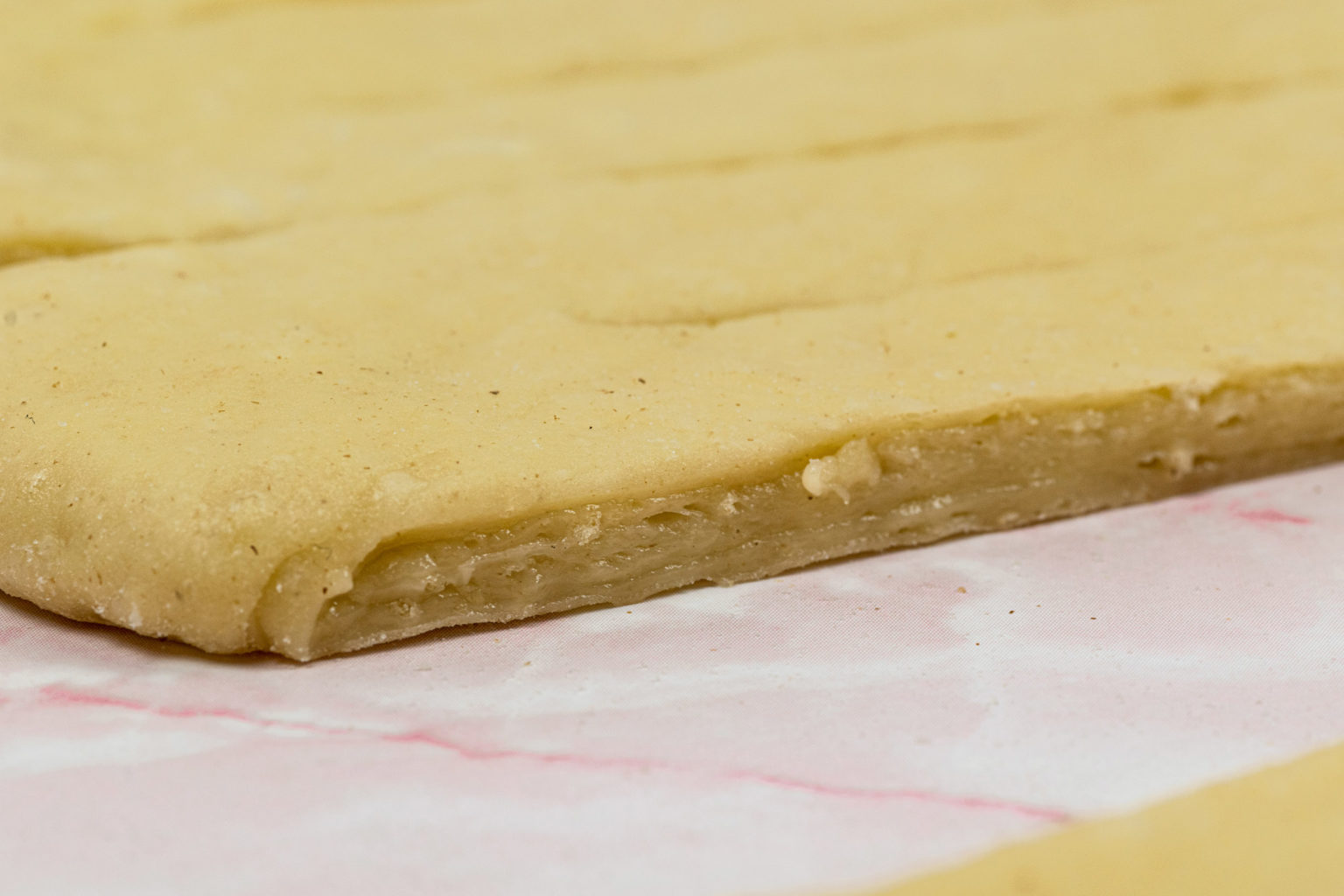 Close-up of dough with layers of butter