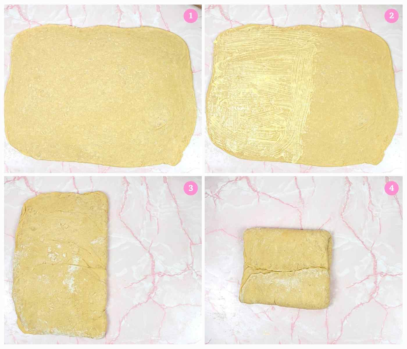 Collage of 4 images showing how to laminate dough