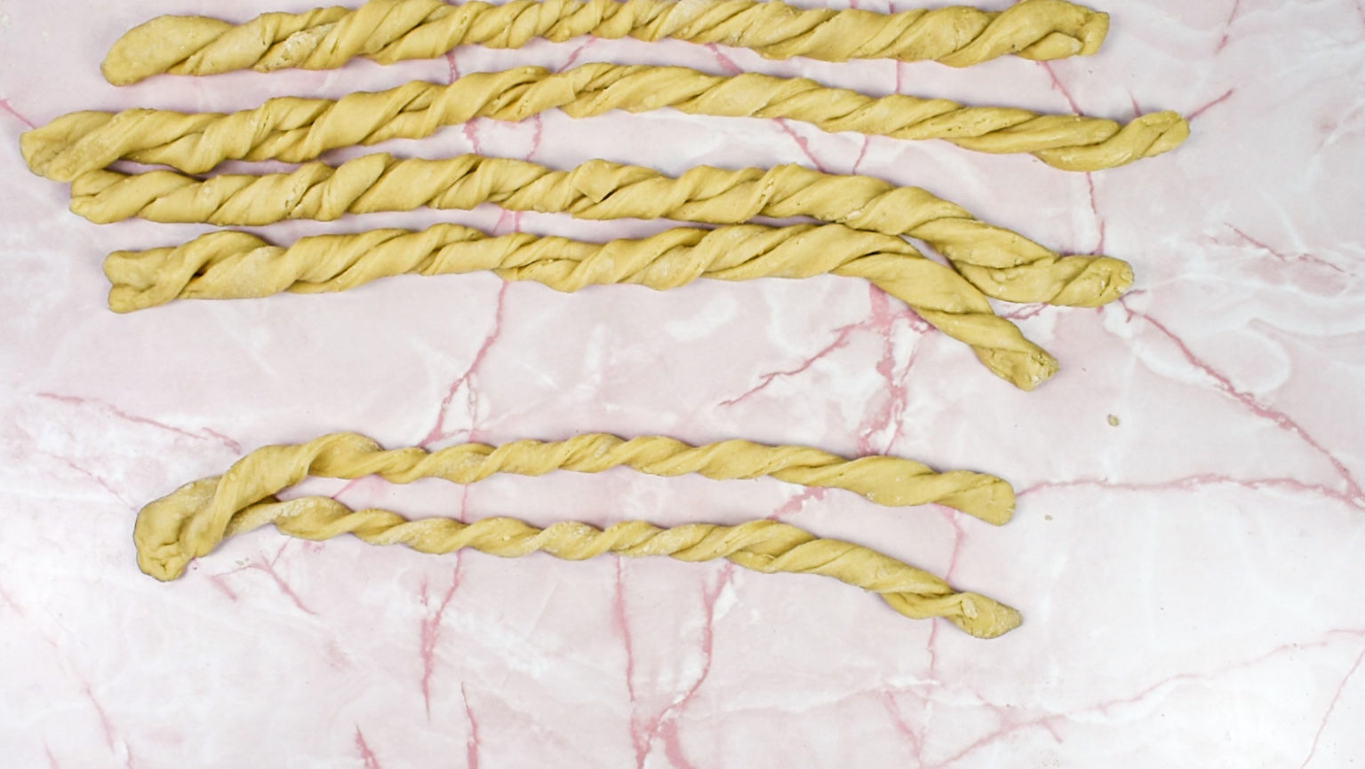Each strip of dough twisted around itself