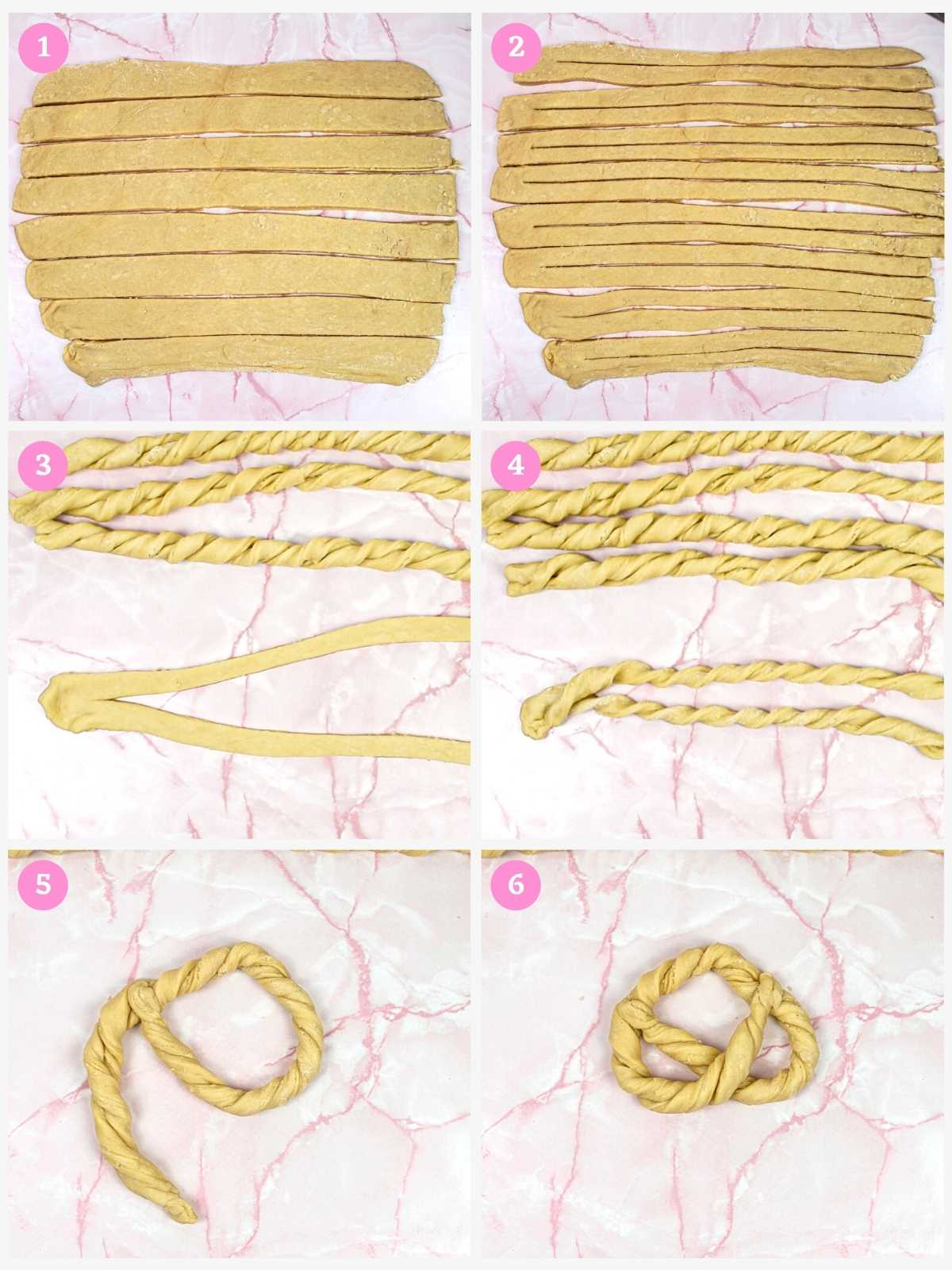 Collage of 6 images showing how to shape sweet pretzels