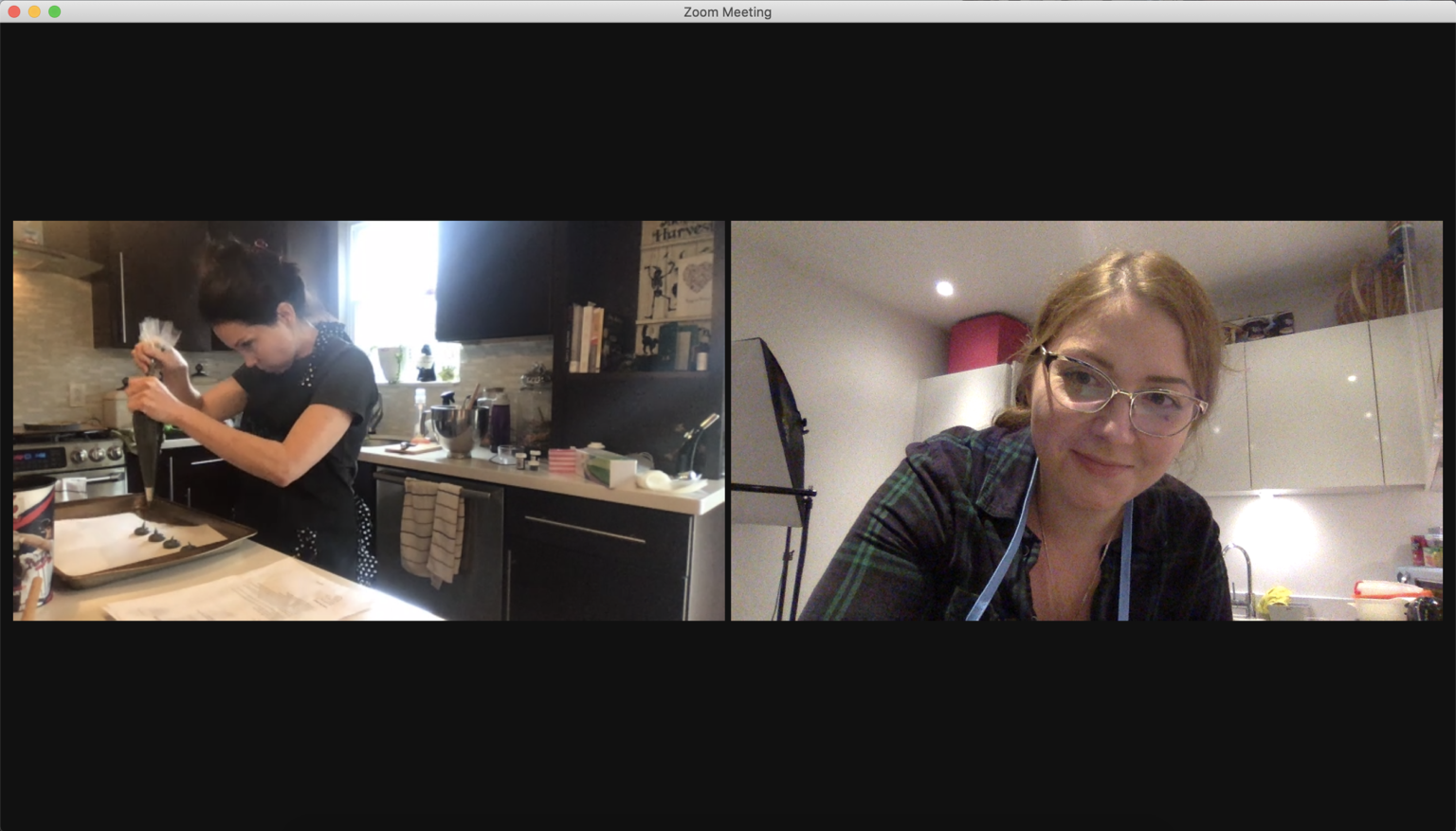 Two women on Zoom having a baking session