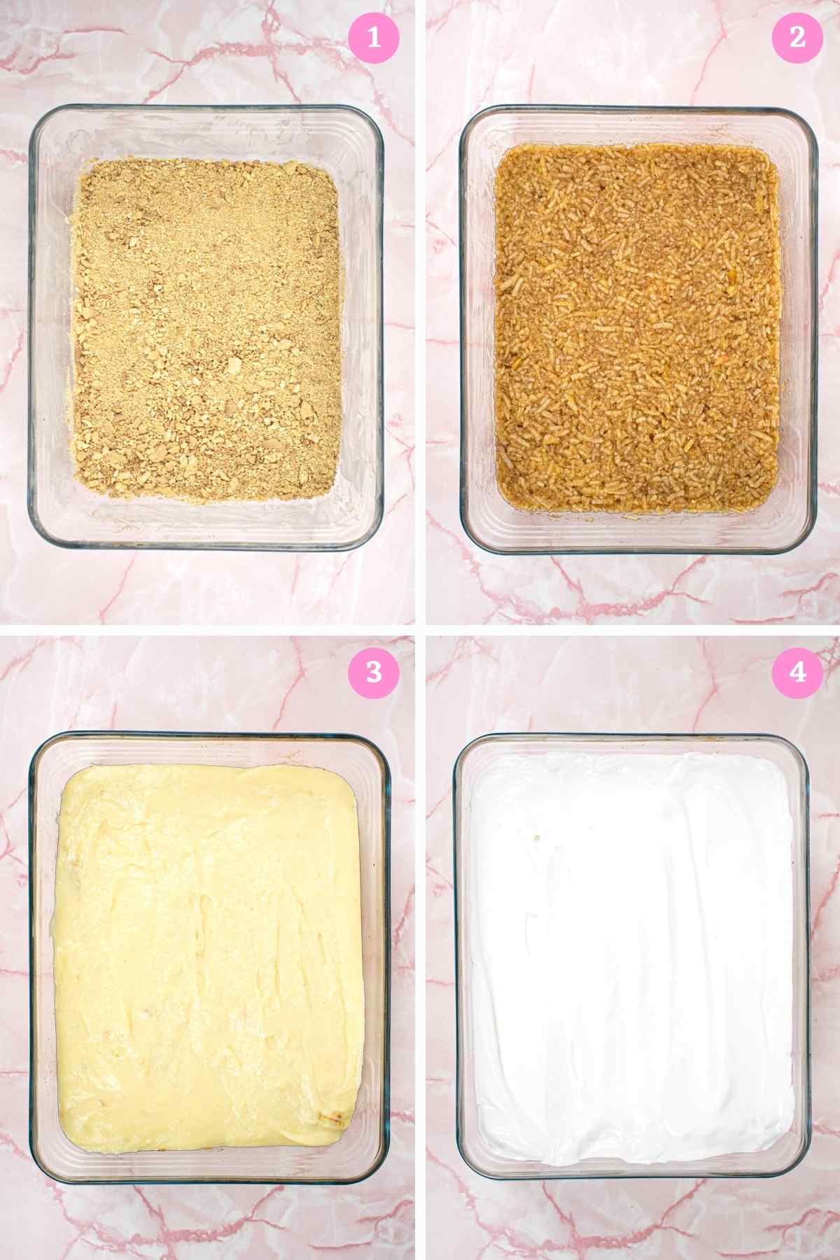 Collage of recipe steps with 4 images of baking tray