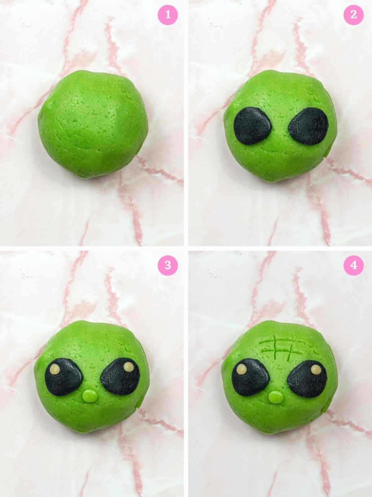 Collage of 4 images showing how to assemble Baby Yoda melon bread