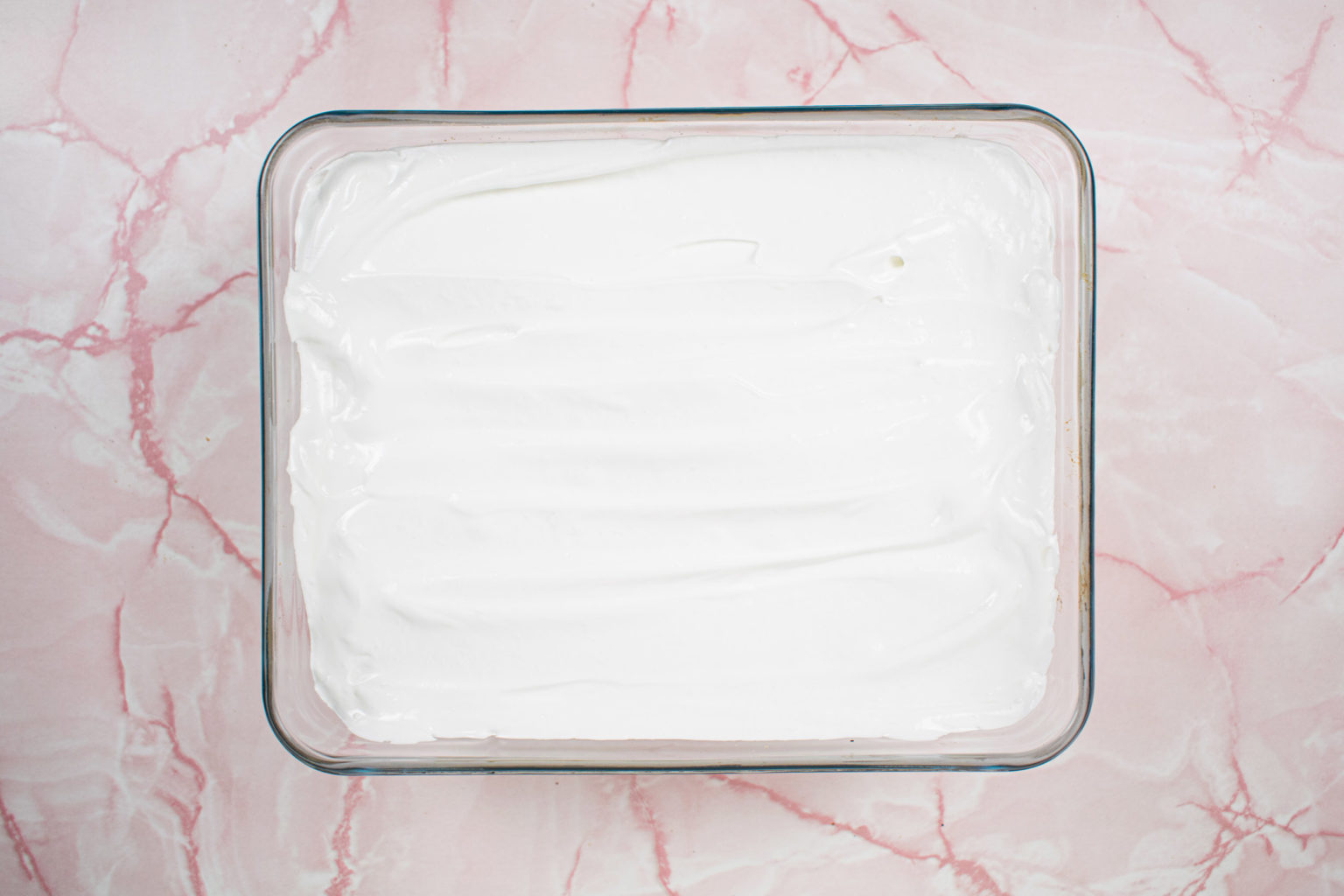 Meringue layer in glass tray