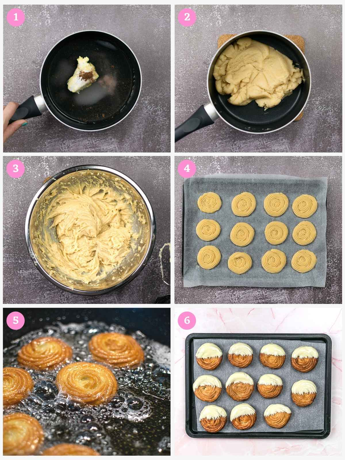 Collage of 6 images showing how to make Churros Cookies Step by Step