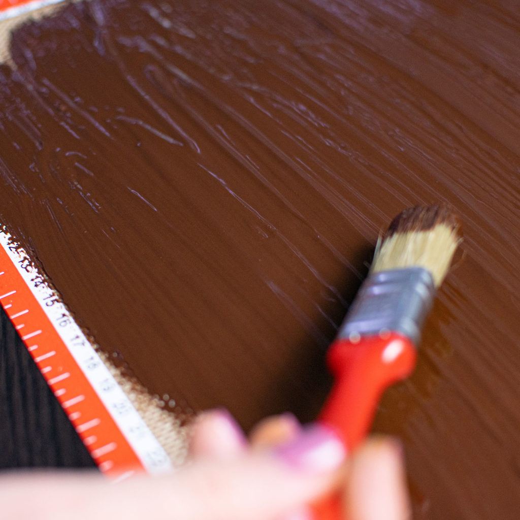 Brush on chocolate for texture