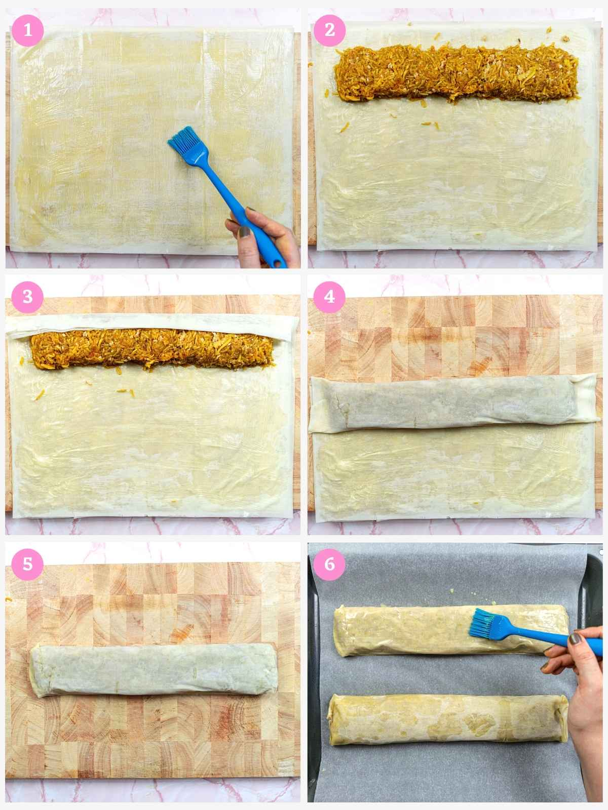 Collage of 6 images showing how to make walnut pumpkin pie with filo pastry