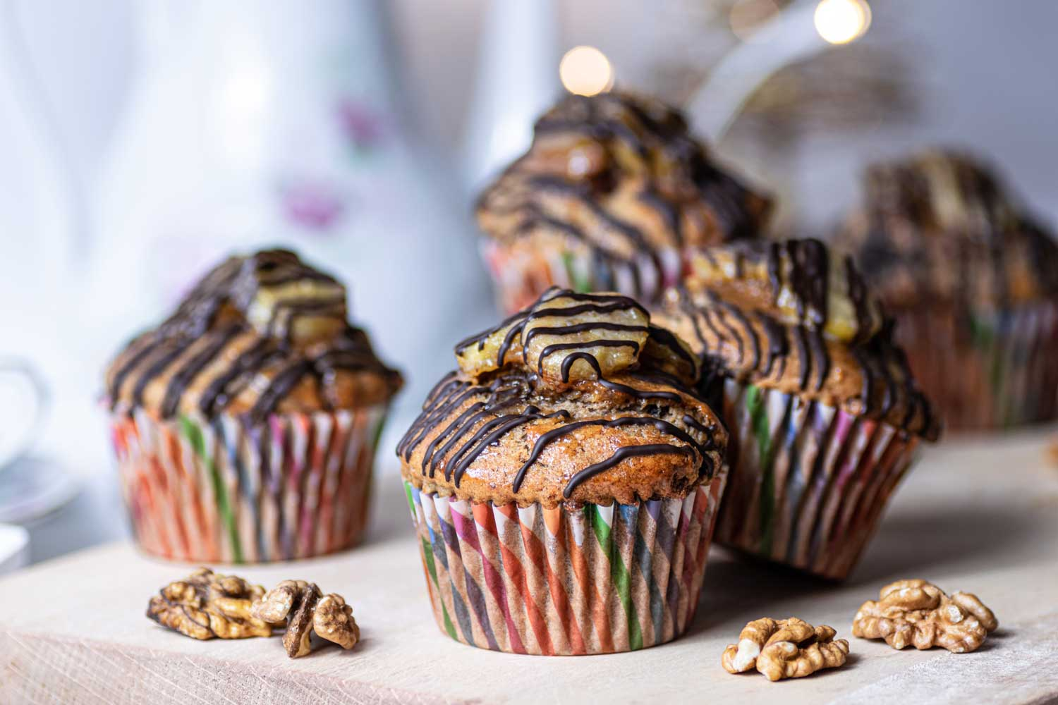 Easy banana muffins with chocolate drizzle
