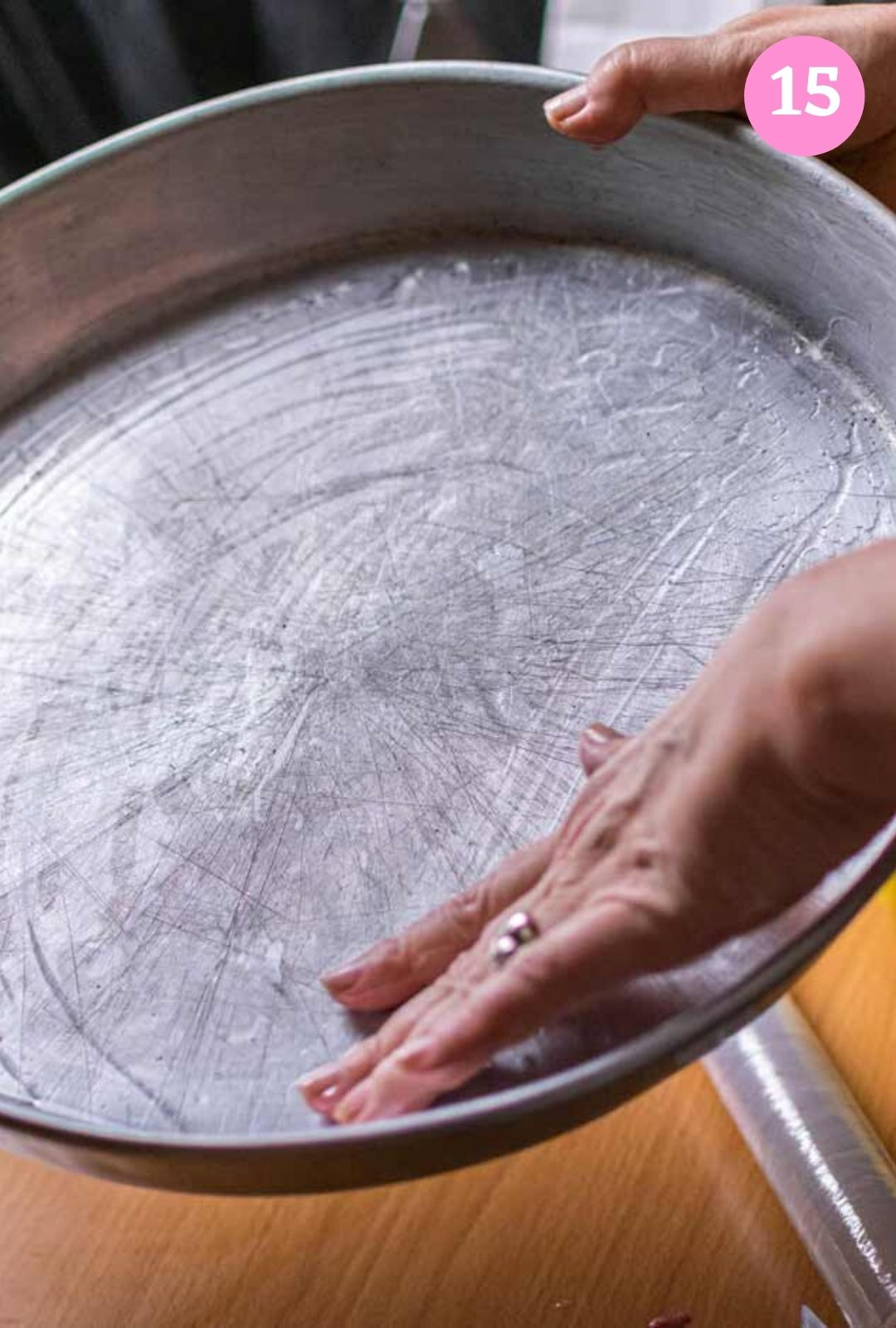 Greasing baking tray with oil