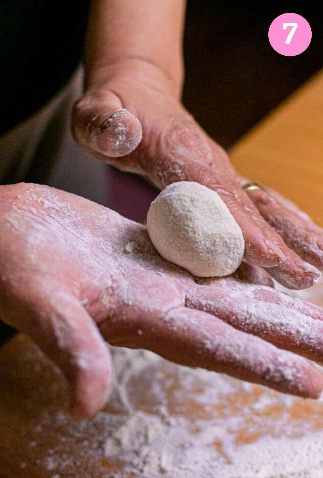 Rolling ball of dough in hand