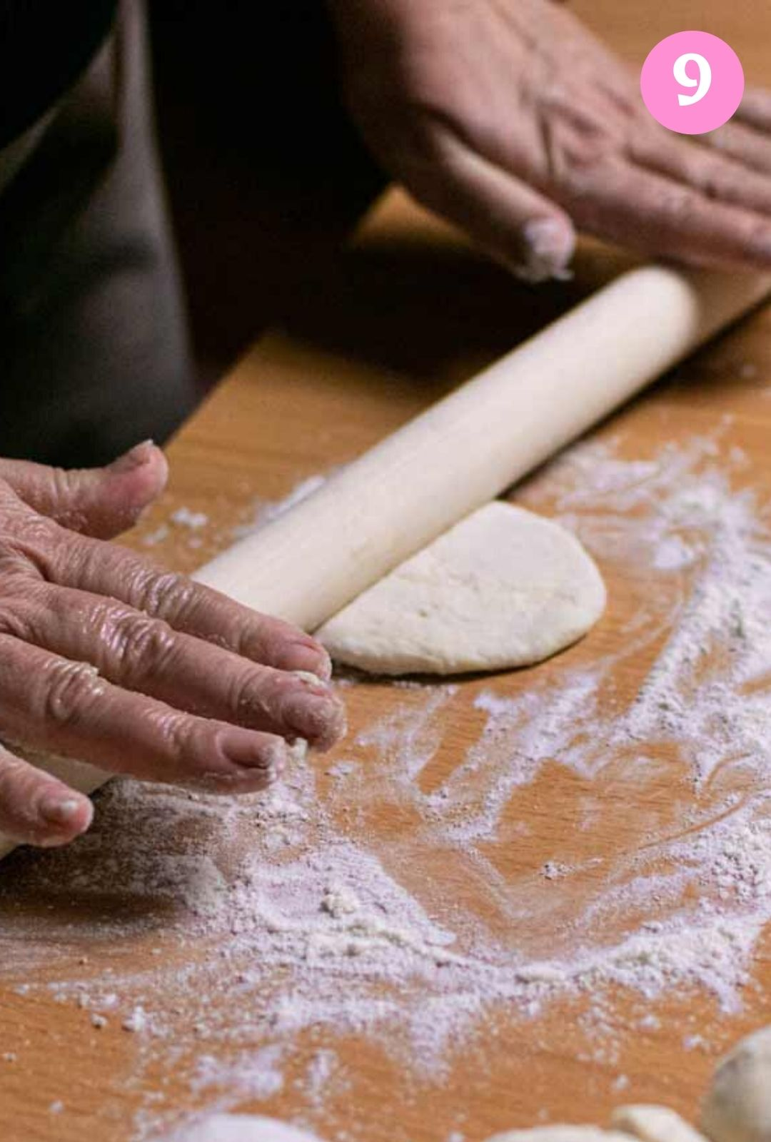 Rolling out dough into a flat round disc