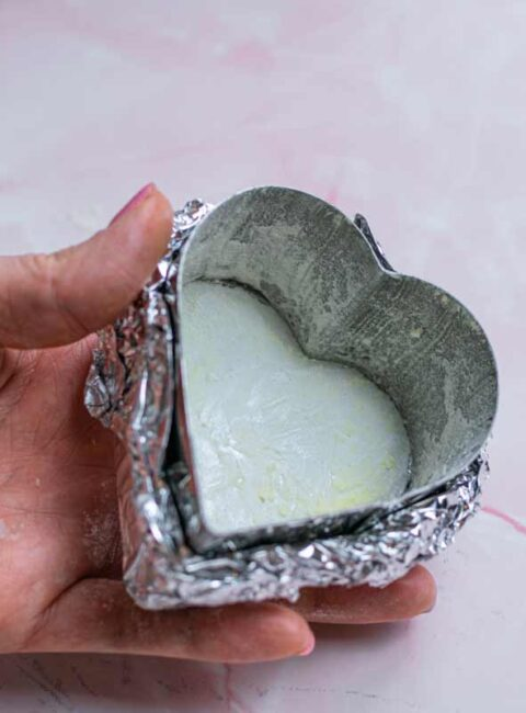 Heart ring covered with flour