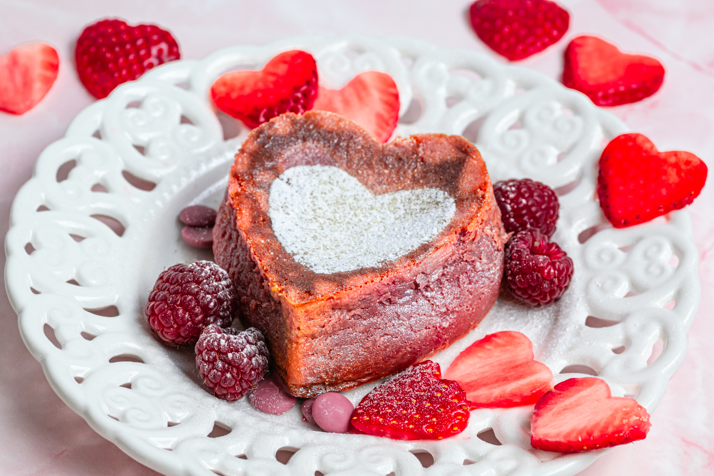 Heart lava cake decorated with fresh berries