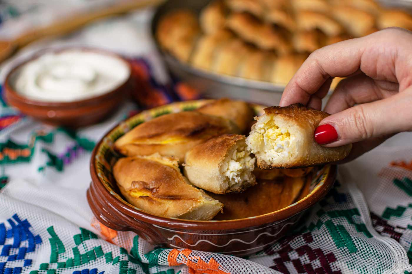 Cantik hand pie filled with white cheese and kashkaval cheese