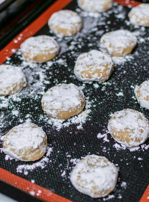 Cookies on baking tray