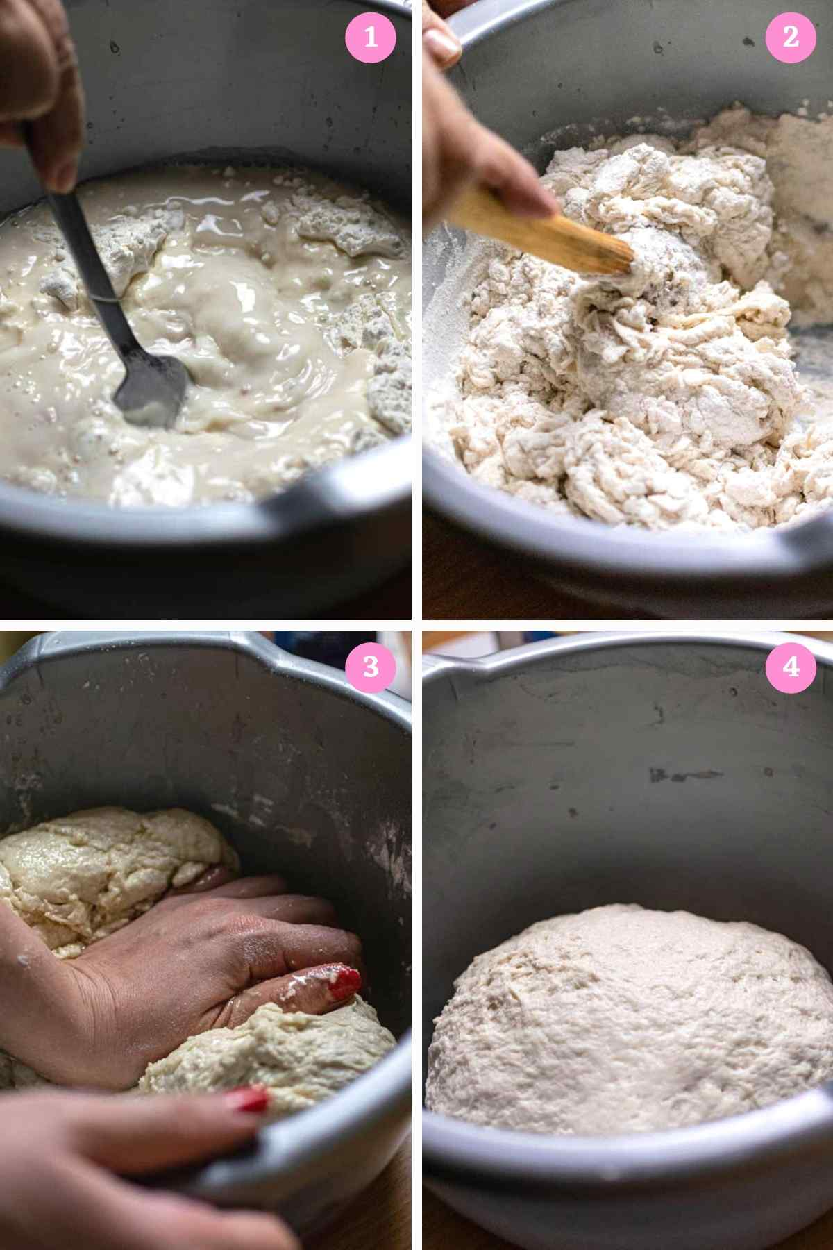 Collage of 4 images showing how to make dough for meat hand pie