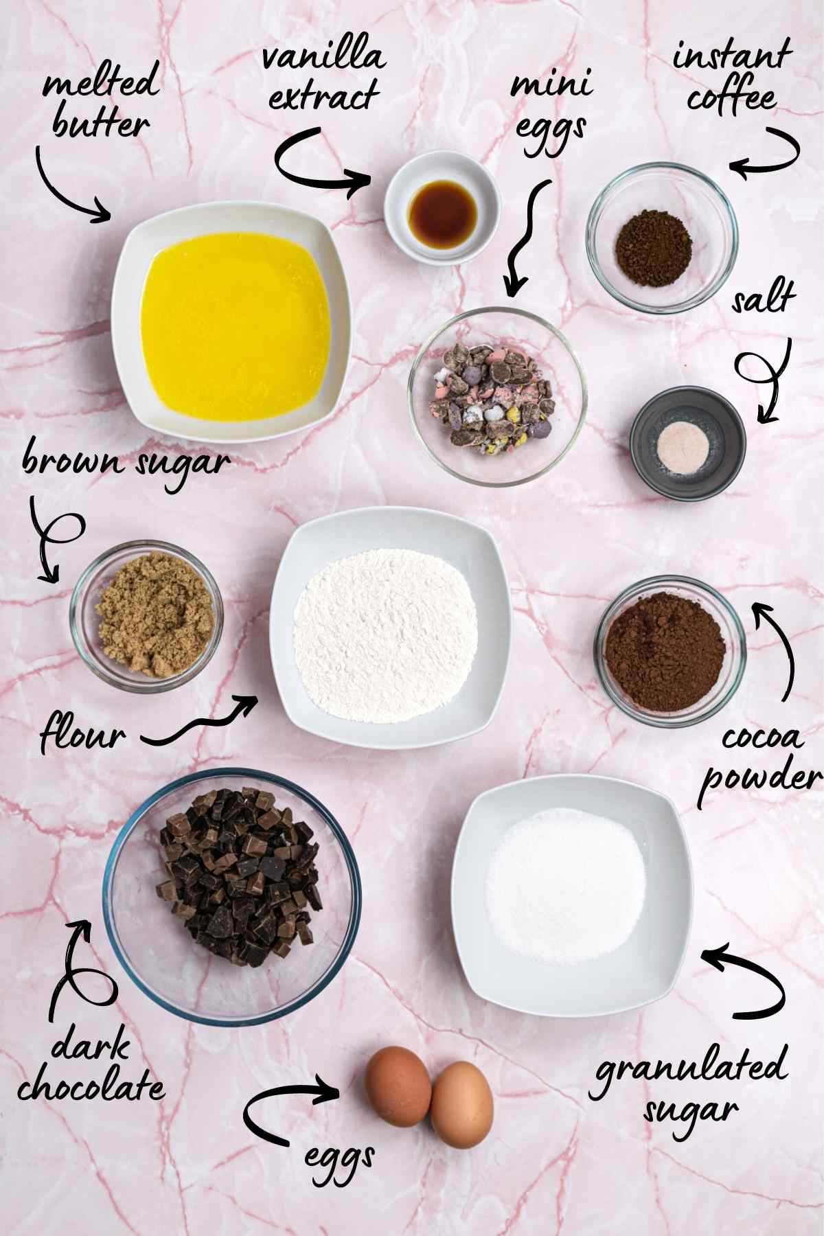 Flatlay image of ingredients with annotations