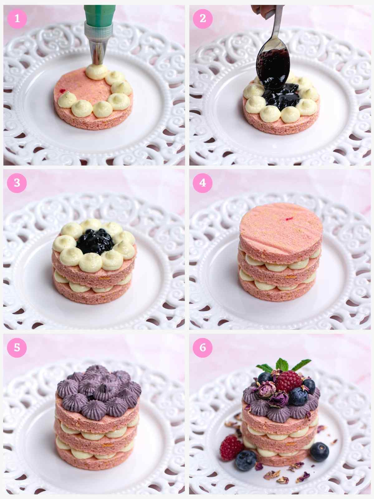 Collage of 6 images showing how to assemble mini blueberry cake