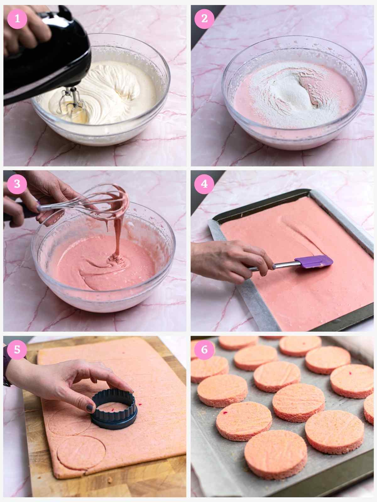 Collage of 6 images showing how to make cake batter for mini blueberry cake