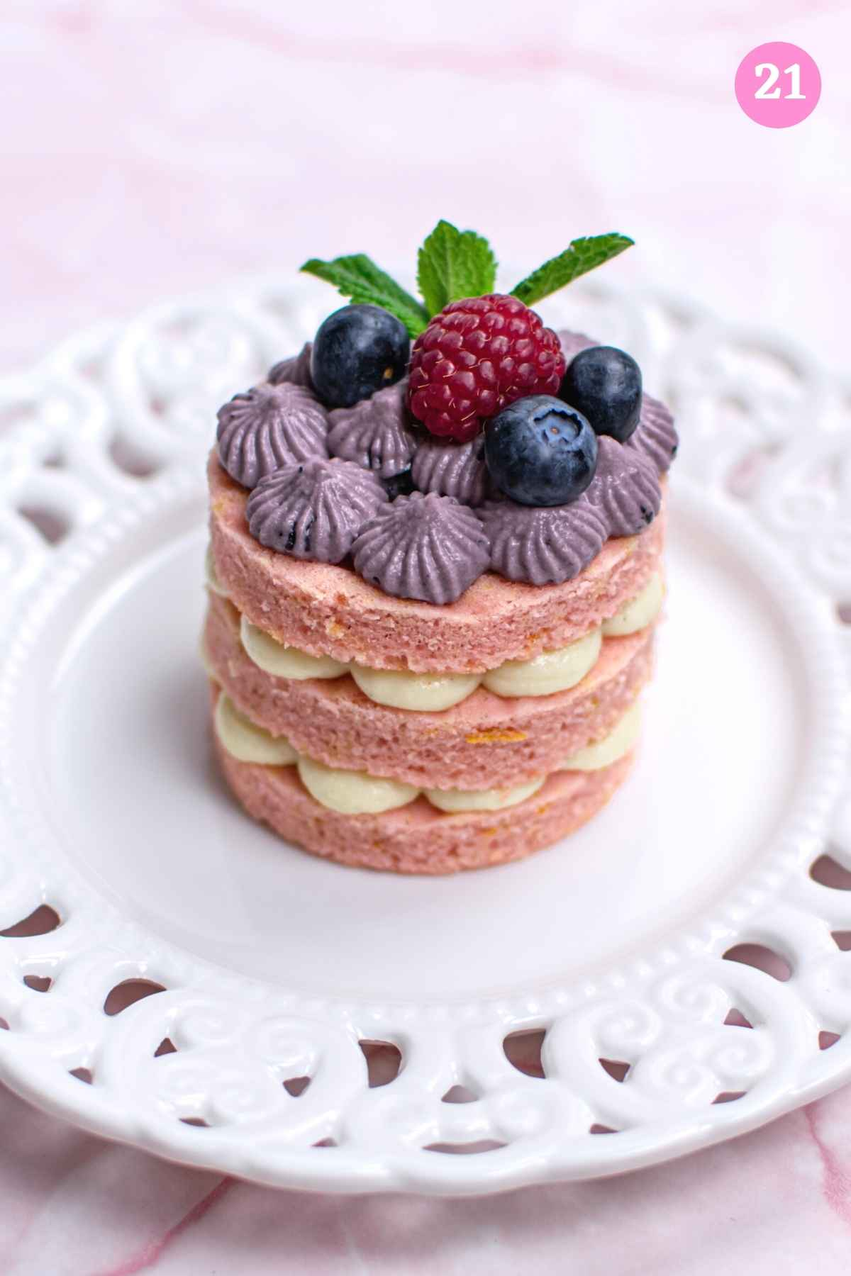 Fresh berries on top of mini cake as decoration