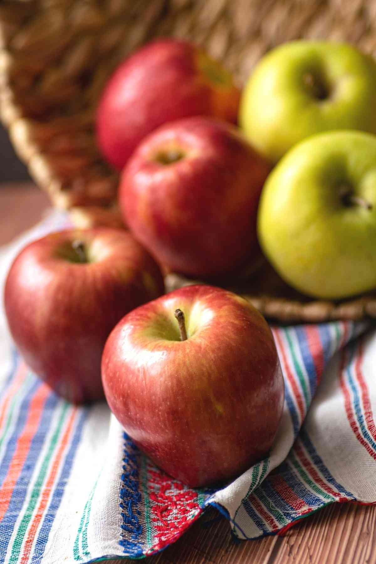 Closeup of red apples