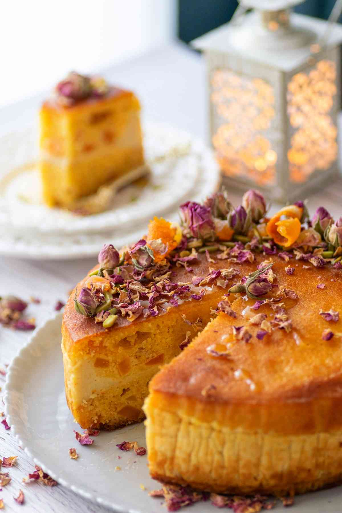 Basbousa cake with cream filling with slice cut out