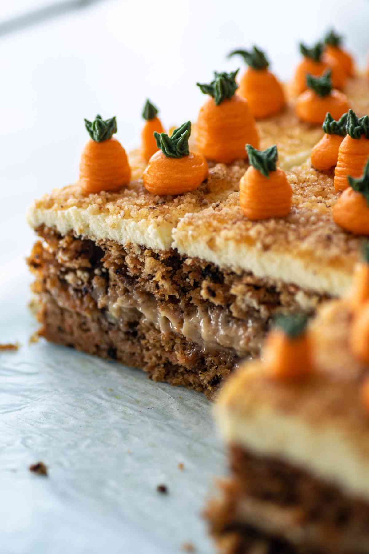 Closeup of carrot cake slices