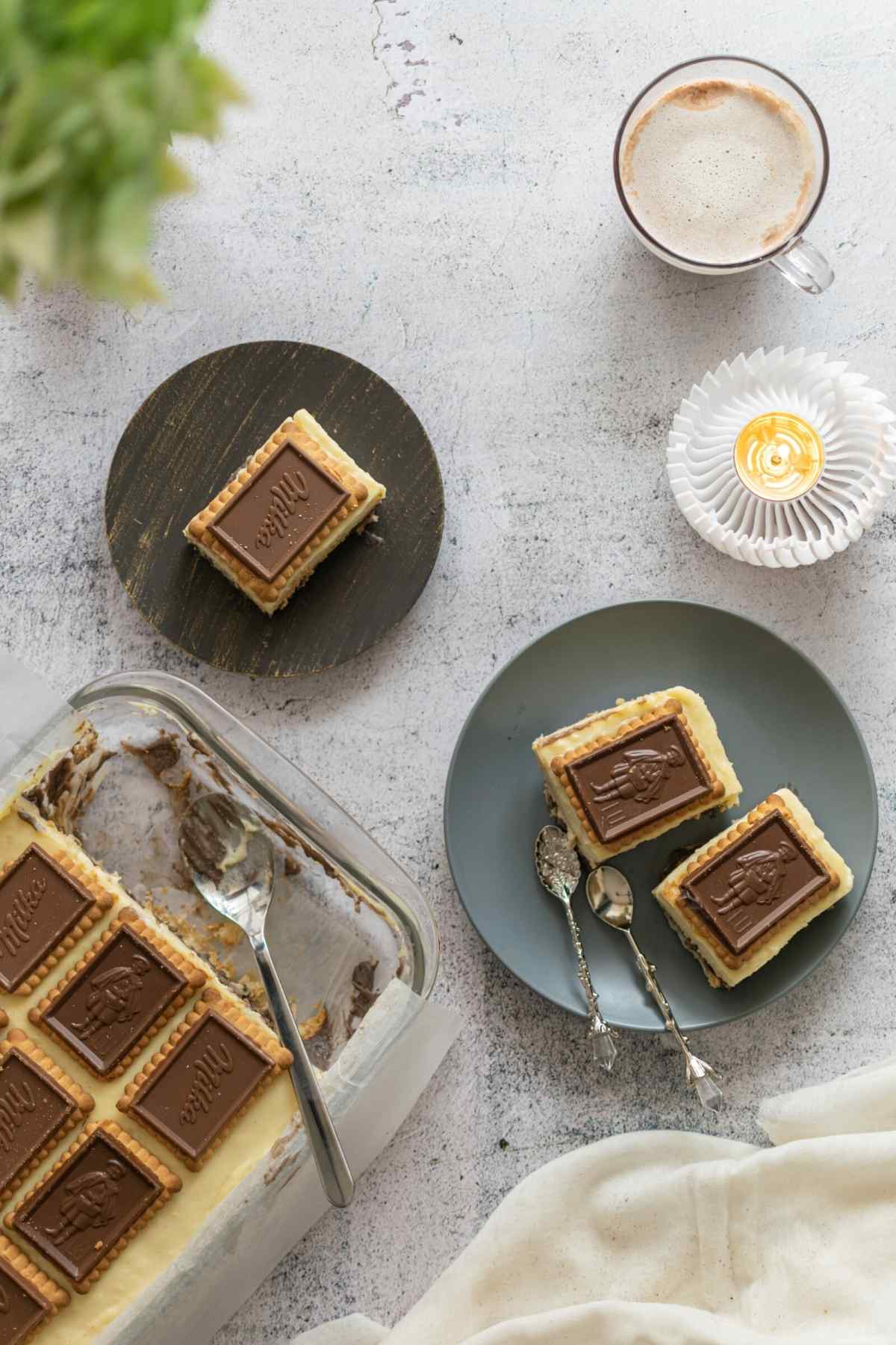 Flatlay image of biscuit tray bake