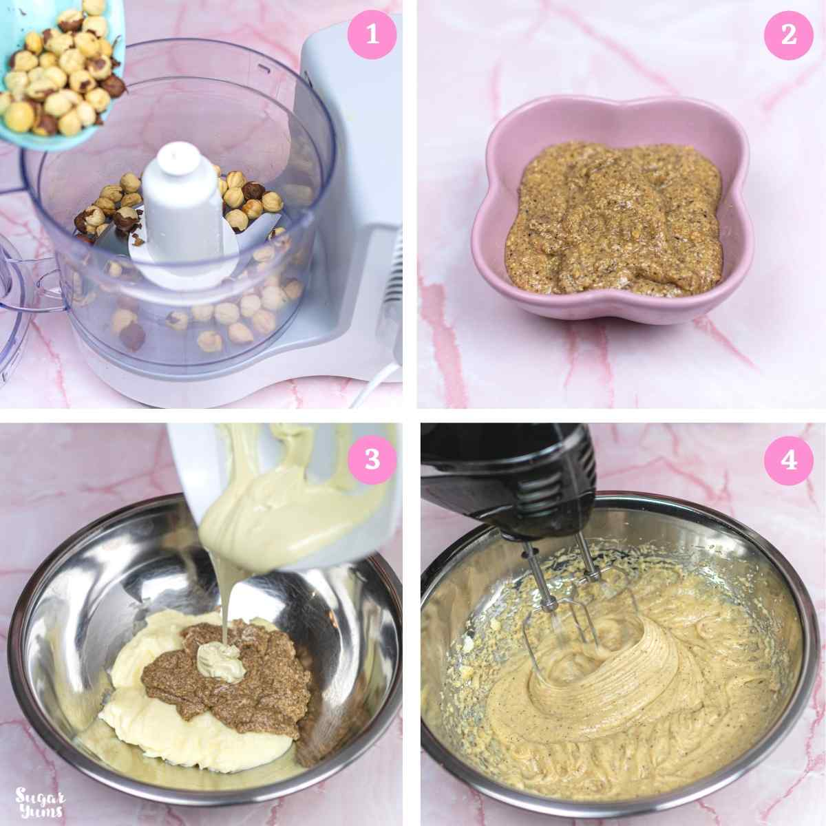 Collage of four images showing steps to making Kinder Bueno cream
