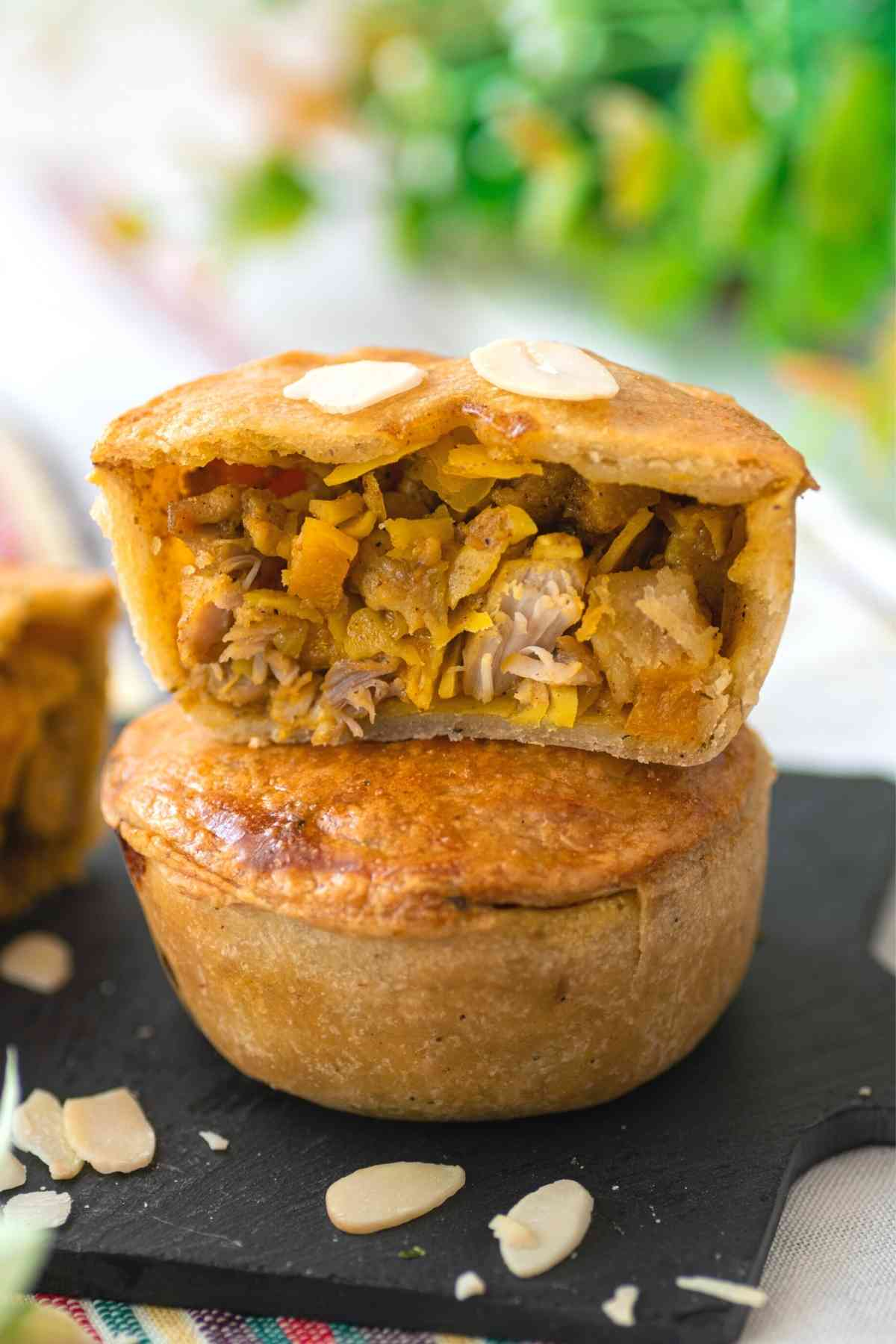 Cross section of Moroccan chicken pie showing filling