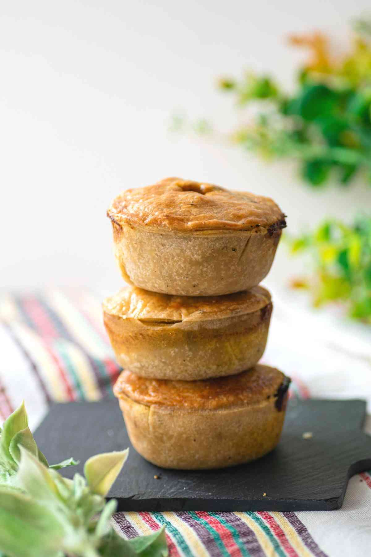 Stack of three Moroccan chicken pies