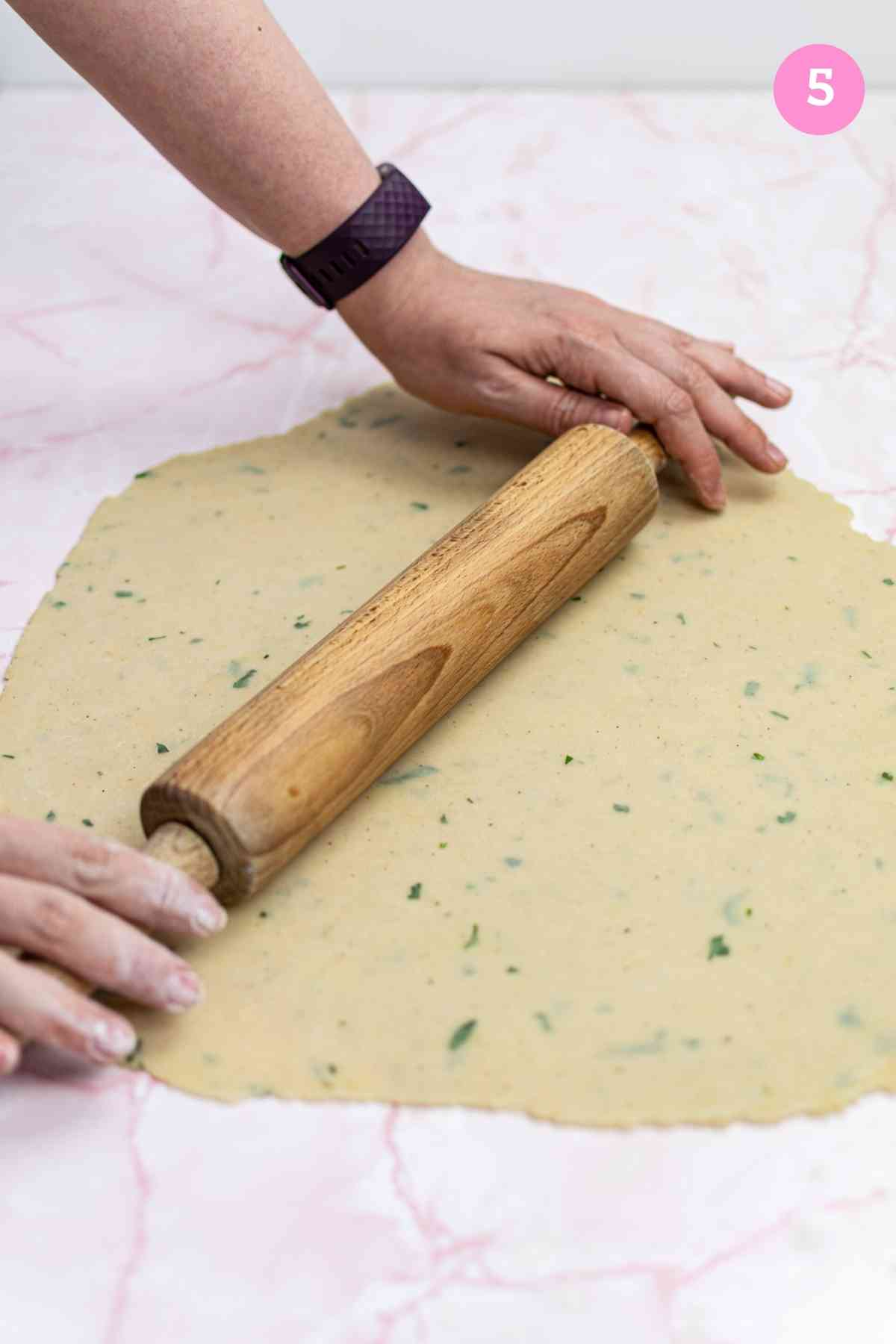 Rolling out hot water crust