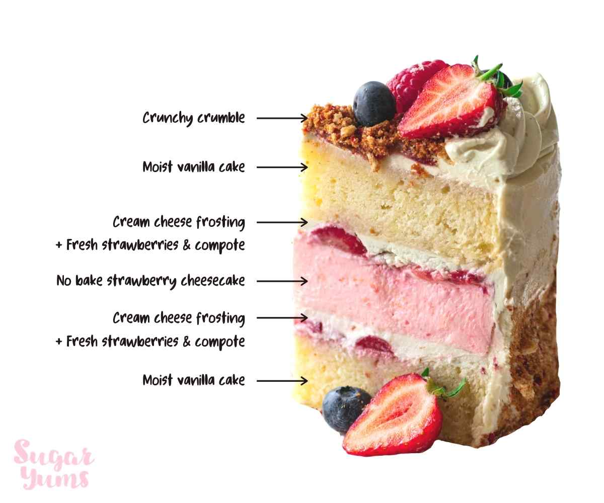 Slice of cake with annotated text for each layer of cake