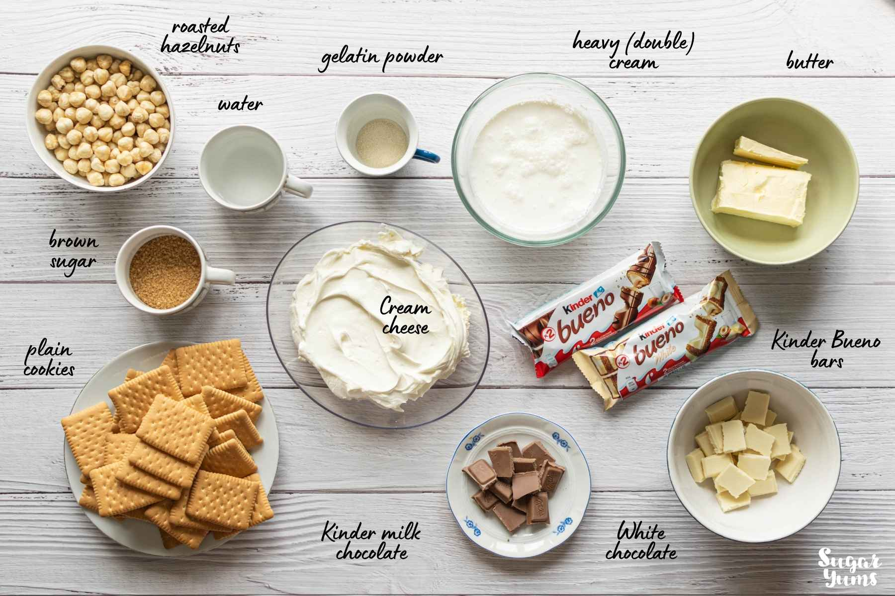 Flatlay image of ingredients needed for Kinder Bueno cheesecake