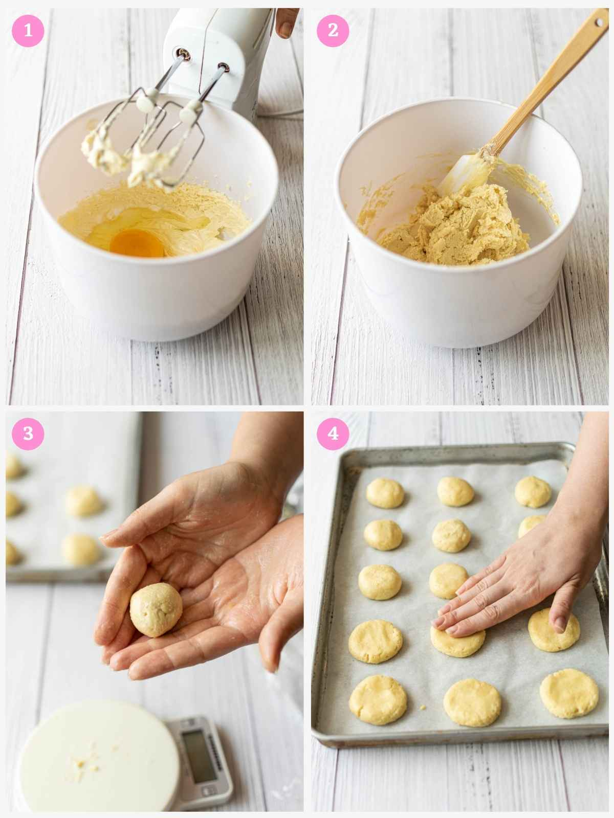 Collage of 4 images showing how to make cream cheese cookie dough