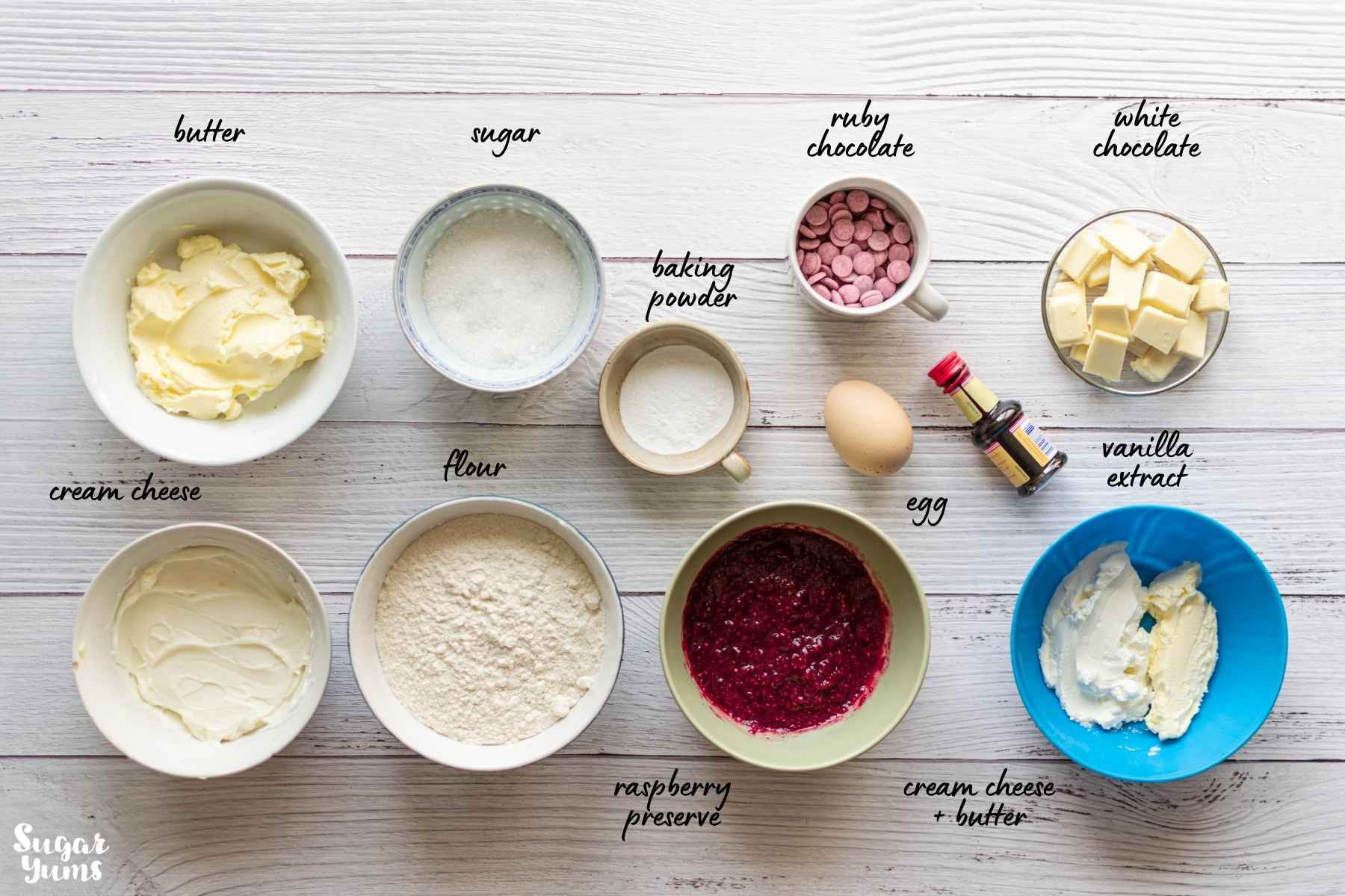 Flatlay image showing ingredients used in recipe