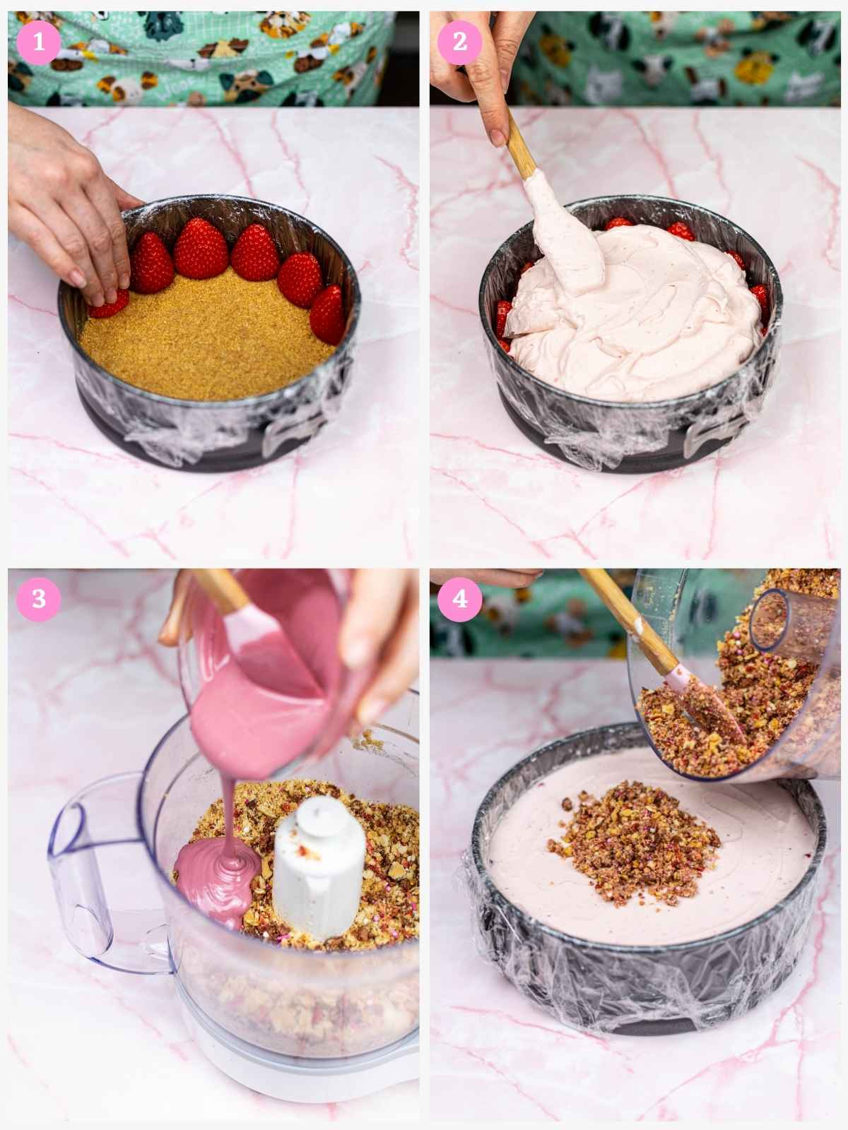 Collage of 4 images showing how to assemble strawberry cheesecake
