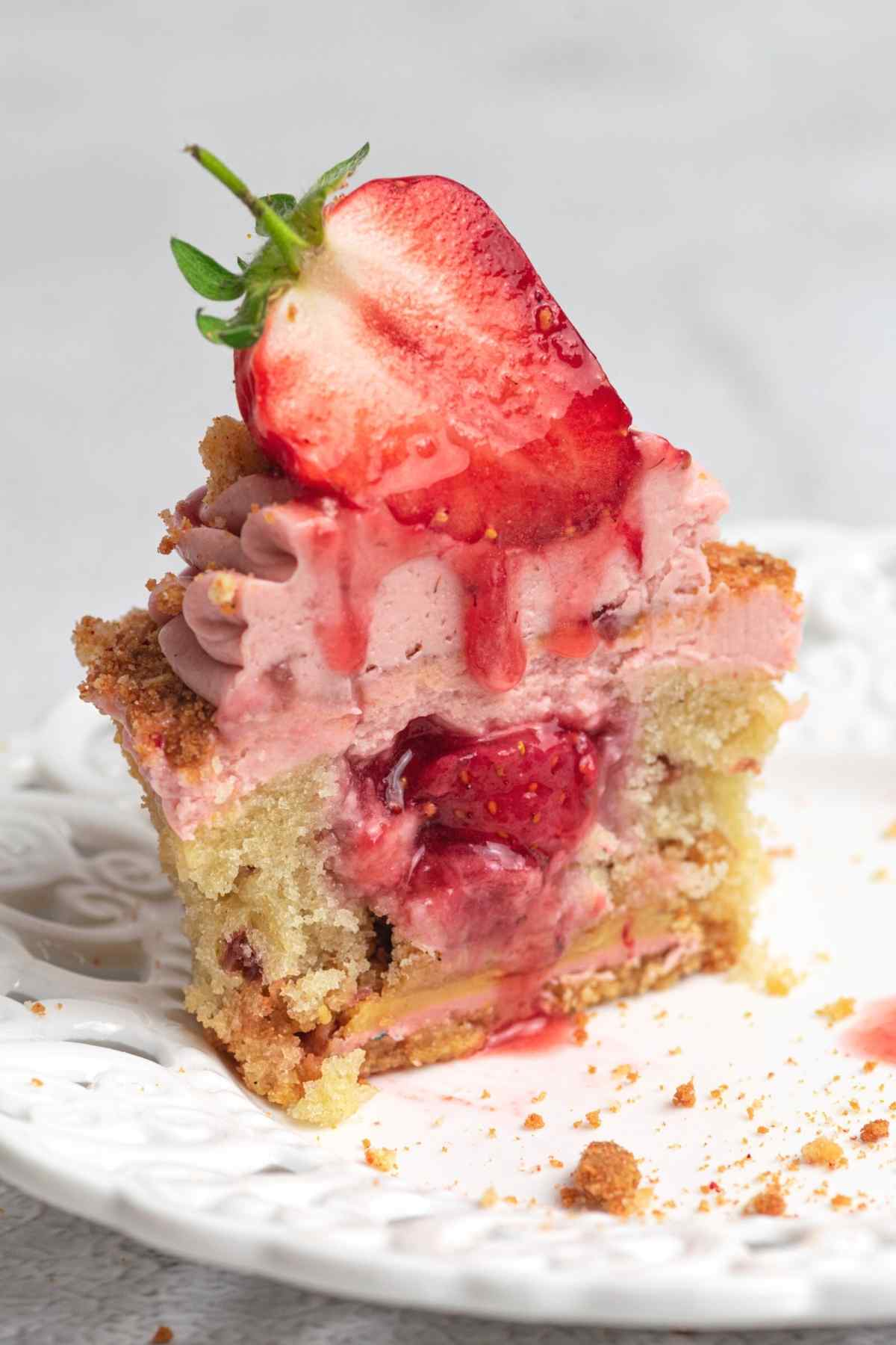 Cross section of cupcake showing strawberry filling